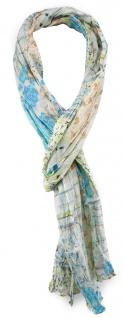 TigerTie Schal in blau braun creme mit Blumenmuster - Gr. 180 x 50 cm