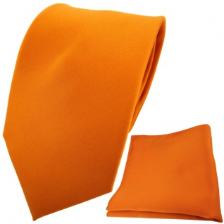TigerTie Designer Krawatte + Einstecktuch orange tieforange einfarbig