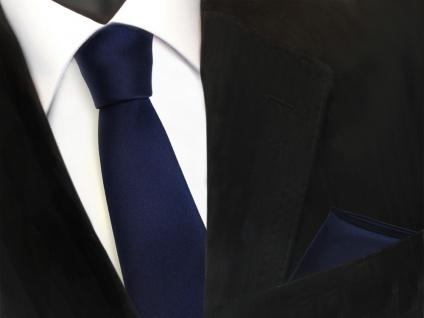 schmale TigerTie Krawatte + Einstecktuch blau dunkelblau uni -Binder Tie Schlips