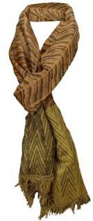 Schal braun gold dunkelbraun goldglitzer gemustert mit Fransen - Gr. 200 x 65 cm
