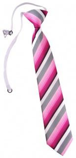 TigerTie Kinderkrawatte in rosa pink grau weiss gestreift - mit Gummizug