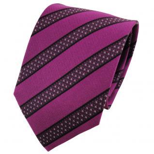 TigerTie Seidenkrawatte magenta fuchsia grau schwarz gestreift - Krawatte Seide