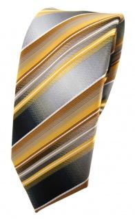 schmale TigerTie Designer Seidenkrawatte gold gelb grau silber weiß gestreift