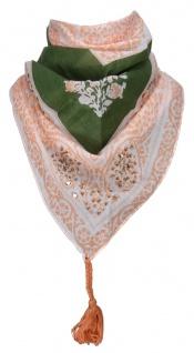 TigerTie Damen Halstuch Dreieckstuch in orange grün grau gemustert - 160 x 75 cm
