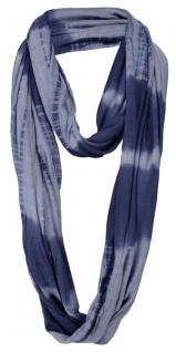Damen Loop Schal in blau dunkelblau Batik Muster - Gr. 180 x 60 cm - Rundschal