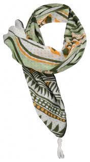 Halstuch in grün dunkelgrün orange grau gemustert mit Häkelarbeit an den Ecken