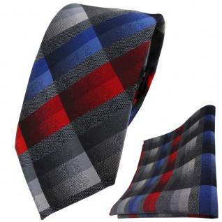 TigerTie Krawatte + Einstecktuch in rot anthrazit blau grau silber kariert