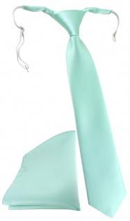 TigerTie Security Sicherheits Krawatte + Einstecktuch in mint grün einfarbig Uni - Vorschau 1