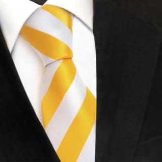 TigerTie Designer Krawatte - Schlips Binder gelb goldgelb weiß gestreift - Tie - Vorschau 1