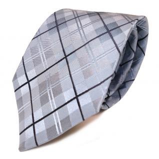 Mexx Seidenkrawatte blau dunkelblau kariert - Krawatte 100% Seide Tie
