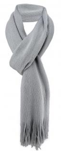 schöner Schal in grau Uni mit Fransen - Winterschal Größe 30 x 180 cm