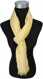 TigerTie Schal in gelb weiss gestreift mit kleinen Fransen - Schal 180 x 50 cm