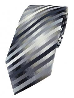 TigerTie Designer Seidenkrawatte in anthrazit silber grau gestreift