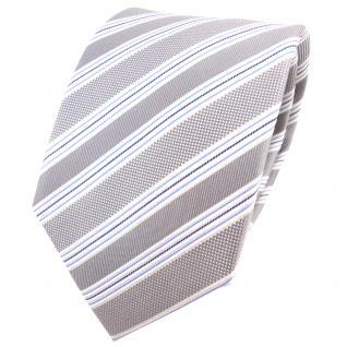 TigerTie Seidenkrawatte silber grau hellgrau blau gestreift - Krawatte Seide