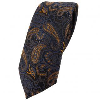 schmale TigerTie Designer Krawatte in braun bronze gold blau schwarz Paisley