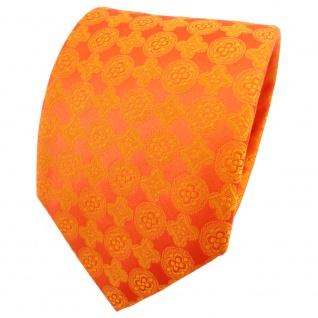 TigerTie Satin Seidenkrawatte orange reinorange gemustert - Krawatte Seide Tie