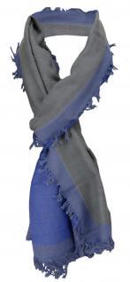 TigerTie Schal in blau anthrazit Uni mit kleinen Fransen- Gr. 180 x 50 cm