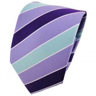 TigerTie Designer Krawatte violett flieder mint silberweiß gestreift - Binder