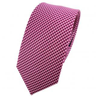 Schmale TigerTie Seidenkrawatte lila magenta rosa silber gepunktet - Krawatte