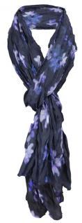 gecrashter Schal in lila violett petrol grau schwarz Blumenmuster - 180 x 65 cm - Vorschau