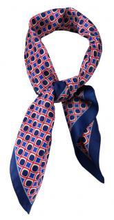 TigerTie Damen Nickituch Halstuch in blau rot creme gemustert Gr. 60 x 60 cm