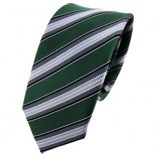 Schmale TigerTie Krawatte grün moosgrün grau silber schwarz gestreift - Binder