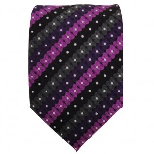 TigerTie Designer Krawatte lila schwarz anthrazit silber gestreift - Binder Tie - Vorschau 2