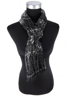 Chiffon Raffschal in schwarz anthrazit grau gemustert - Schalgröße 180 x 50 cm
