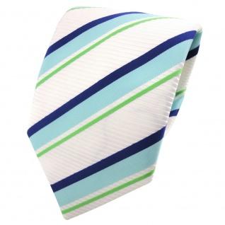 TigerTie Satin Krawatte türkis blau weiß signalweiß grün gestreift - Binder Tie