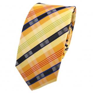 Schmale Designer Seidenkrawatte gelb orange grün anthrazit gestreift - Krawatte