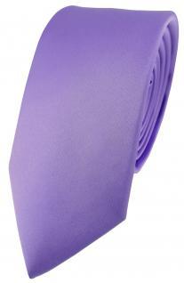 schmale feine Designer Seidenkrawatte in Satin flieder - Tie Krawatte 100% Seide