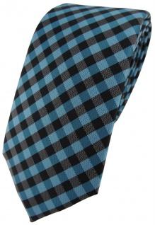 Modische TigerTie Designer Krawatte in türkis anthrazit schwarz kariert