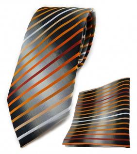 TigerTie Krawatte + Einstecktuch orange lachs weiss silbergrau schwarz gestreift