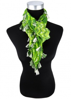 Halstuch in grün gelbgrün mit Blumenmotiv und Fransen - Tuch Gr. 100 x 100 cm