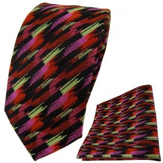 TigerTie Krawatte + Einstecktuch in orange rosa gold schwarz gestreift