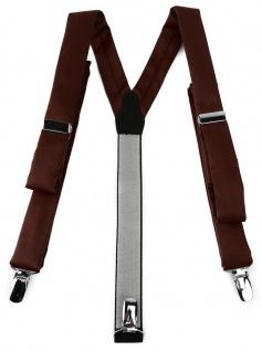 schmaler TigerTie Unisex Hosenträger mit 3 extra starken Clips - dunkelbraun Uni