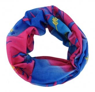 Multifunktionstuch blau pink gestreift Blumenmotiv - Tuch - Schal - Schlauchtuch