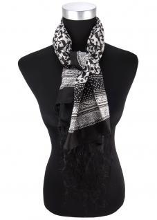 Halstuch in schwarz grau Ornamente gemustert mit Fransen - Größe 100 x 100 cm
