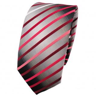 Schmale TigerTie Krawatte rot weinrot rose silbergrau schwarz gestreift