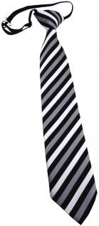 TigerTie Kinderkrawatte silber grau schwarz gestreift - vorgebunden mit Gummizug
