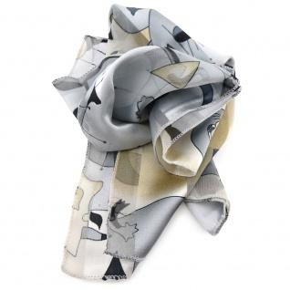 Feines Damen Satin Nickituch silber schwarz beige gemustert- Tuch Halstuch Schal