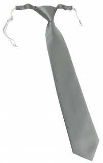 TigerTie Kinderkrawatte in grau einfarbig Uni - vorgebunden mit Gummizug