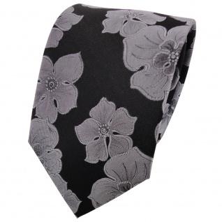 Seidenkrawatte schwarz silbergrau gemustert - Tie Krawatte 100% Seide Silk