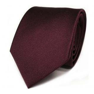 Elegante TigerTie Seidenkrawatte rot bordeaux Uni Rips - Krawatte Seide Binder