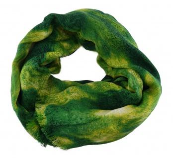 Damen Schal Halstuch grün dunkelgrün gelb mit Fransen Gr. 185 cm x 75 cm - Tuch