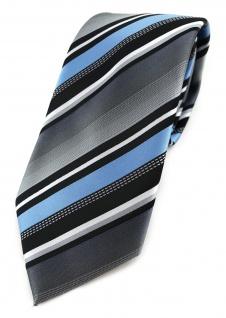 TigerTie Designer Krawatte in hellblau silber grau weiss schwarz gestreift