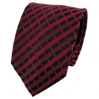 TigerTie Seidenkrawatte rot dunkelrot bordeaux schwarz kariert - Krawatte Seide