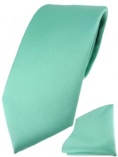 TigerTie Designer Krawatte + TigerTie Einstecktuch in grün mint einfarbig uni - Vorschau