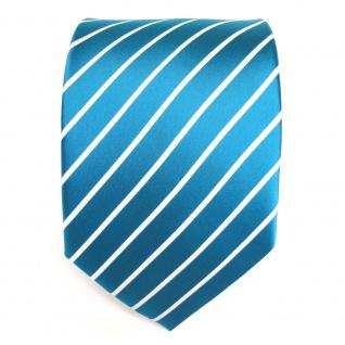 TigerTie Krawatte türkis türkisblau weiß silber gestreift - Schlips Binder Tie - Vorschau 2