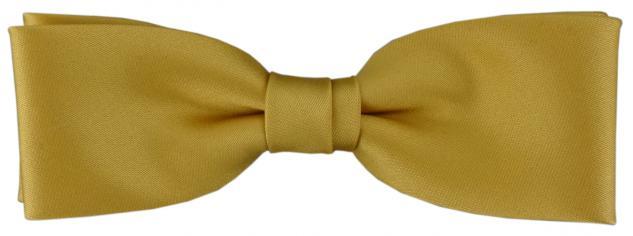 vorgebundete schmale TigerTie Fliege in gold Uni einfarbig + Box